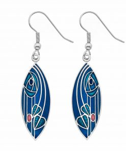 Mackintosh Rose Earrings Pointed Blue Leaf