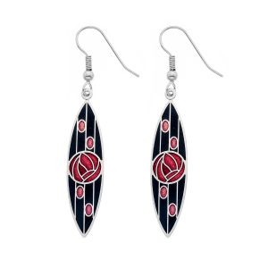 Mackintosh Rose and Lines Earring - Black