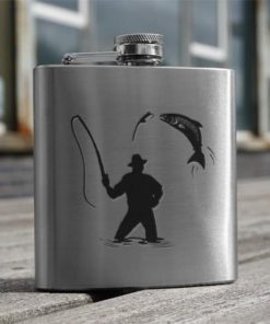 Stainless Steel Fisherman 6oz Hip Flask