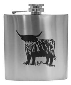 art pewter cow hip flask