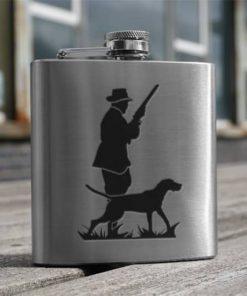 art pewter hip flask