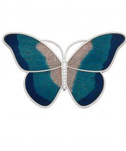Butterfly Brooch in Blue Enamel