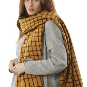 Ladies Scarf black and Mustard Square Check